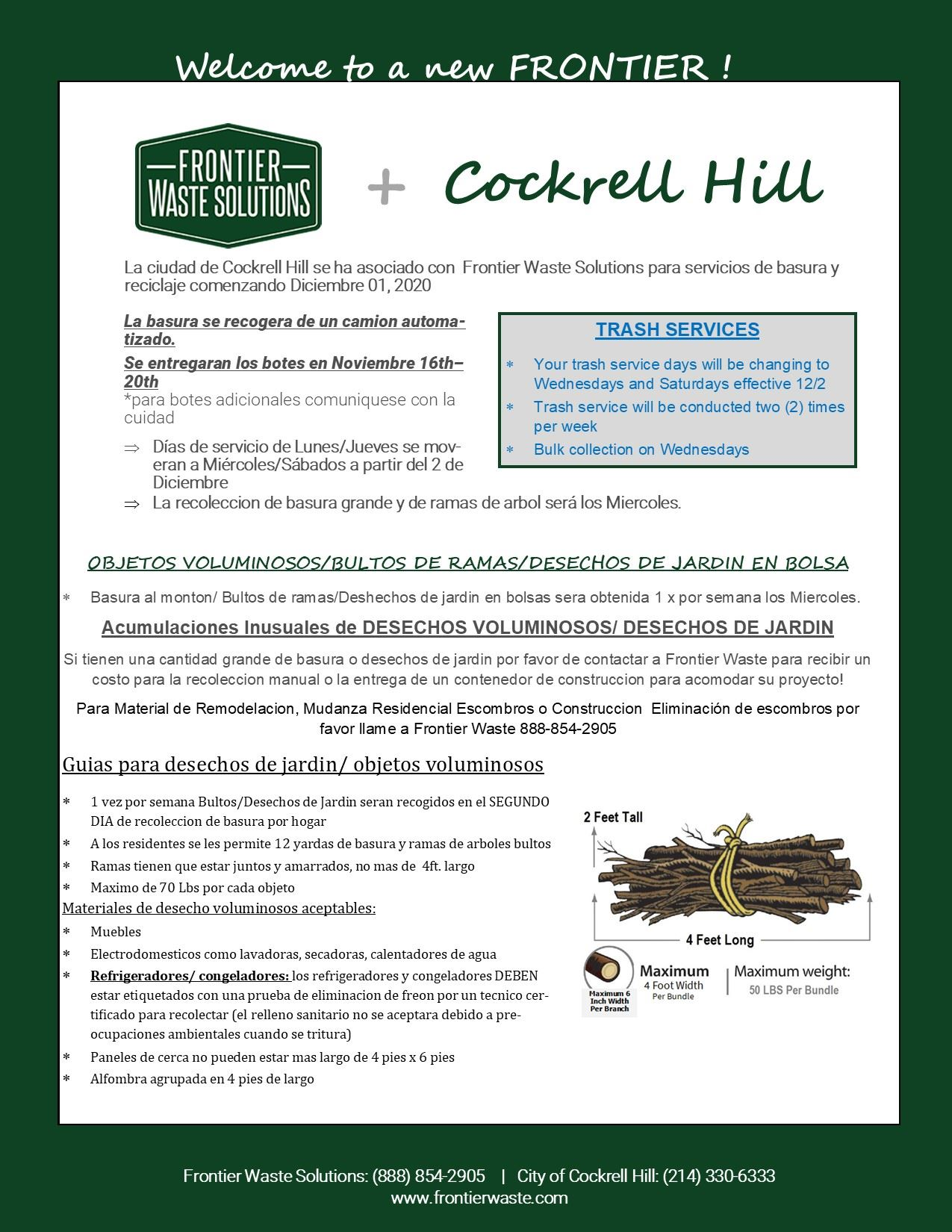 Cockrell Hill Trash Flyer Spanish